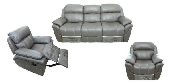 Set canapea si 2 fotolii MD 2458, piele naturala suprafata de contact, canapea cu 2 reclinere, si 2 fotolii cu recliner