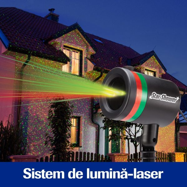 Star Shower Motion – Proiectie lumini laser, Static si miscator, Efect 3D holografic, pentru exterior si interior