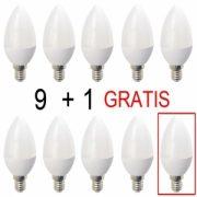 Set 9 plus 1 Gratis Becuri LED Drimus E14 6W lumina calda DL-3062