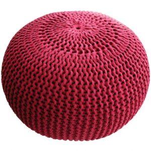 Taburet tricotat rotund Heinner Home, 45x35 cm, Rosu
