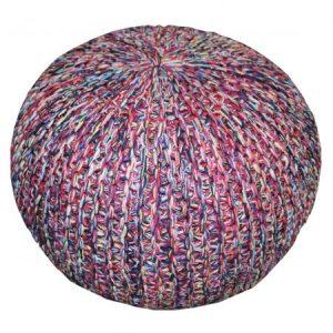 Taburet tricotat rotund Heinner Home, 45x35 cm, multicolor