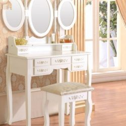 SEA120 - Set Masa alba toaleta cosmetica machiaj oglinda masuta vanity