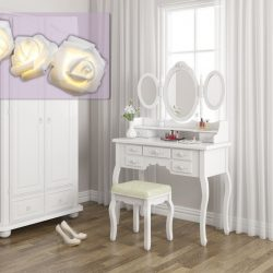 SEA312 - Set Masa alba toaleta cosmetica machiaj oglinda masuta vanity