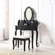 SEN105 - Set Masa neagra toaleta cosmetica machiaj oglinda masuta