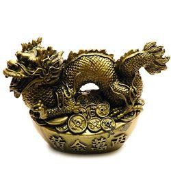 Dragon norocos pe pepita cu monede