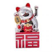 Pisica norocoasa argintie cu ideograma norocului