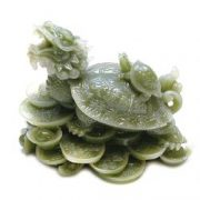 Testoasa dragon cu pui imitatie jad