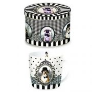 Cana portelan - Barocco Dogs With Hat Mug In Tin Gift Box | Nuova R2S