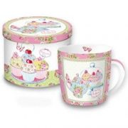 Cana portelan in cutie cadou - Gourmandise Pois Pink | Nuova R2S