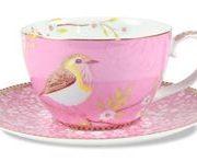 Ceasca pentru cappuccino si farfurie roz - Birds   Pip Studio