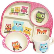 Set 3 piese - Bamboo Fibre Kids Dining - Owl | Tosh Products Limited