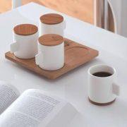 Set 4 cani, 4 suporturi/capace si tava - Coffee for 4 | Lexon