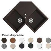 Chiuveta bucatarie granit compozit anticalcar trapezoidala 2 cuve si picurator DEBRA