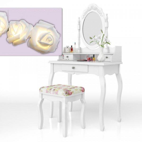 Set Masa alba toaleta cosmetica machiaj oglinda masuta vanity