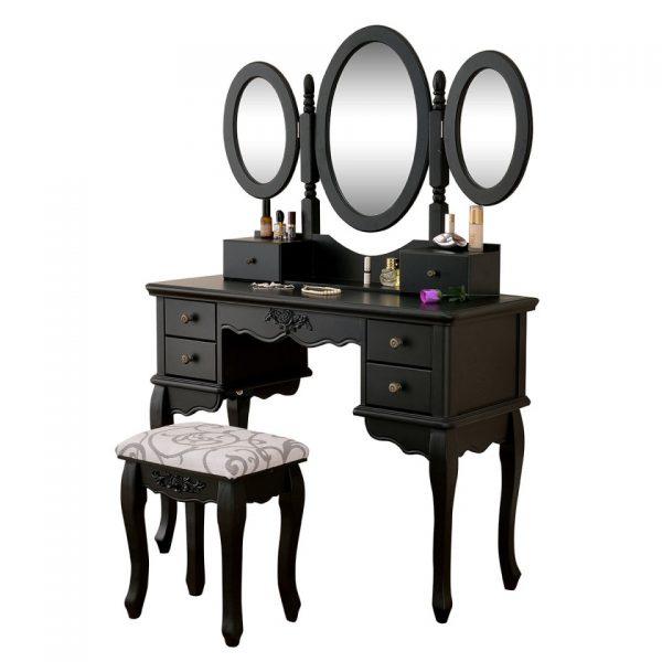 Set masa toaleta Neagra oglinda tripla, scaun, cosmetica machiaj